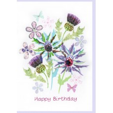 Birthday Pretty Thistles Card WWBI123