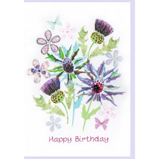 Birthday Pretty Thistles Card WWBD123