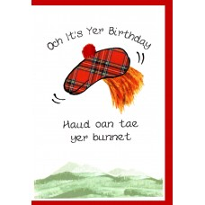 Scottish Birthday Card Bunnet WWBI37
