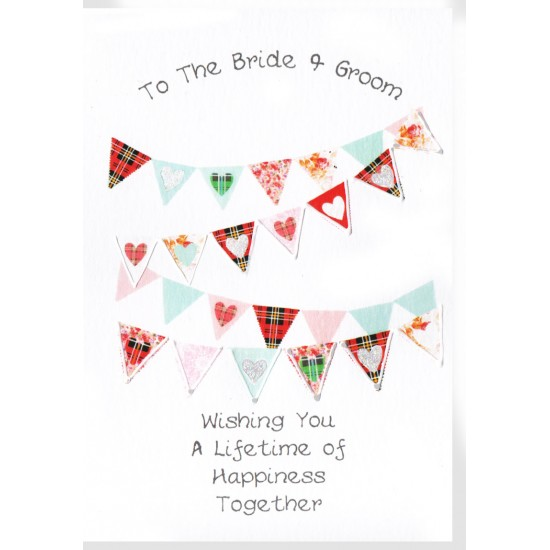 Wedding Card Hearts Bunting WWWE82