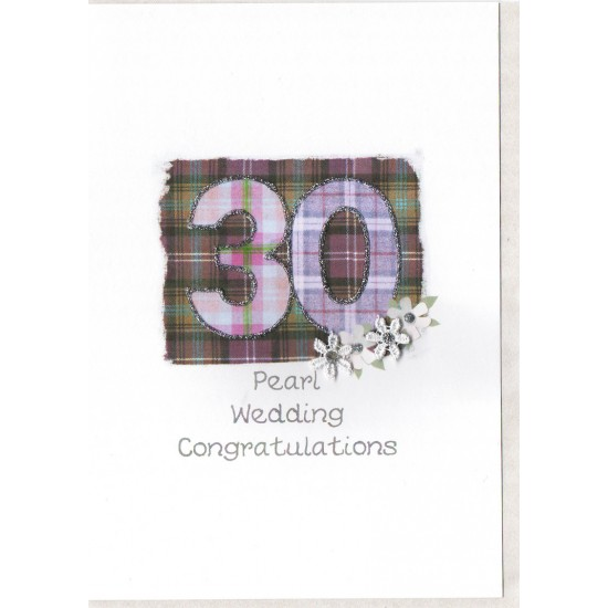 Pearl Anniversary Number Card SW AN30