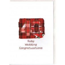 Ruby Anniversary Number Card SW AN40