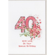 Special Birthday Number 40 Card SW PN40
