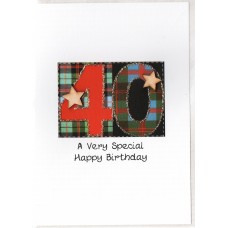 Special Birthday Tartan Number 40 Card SW TN40