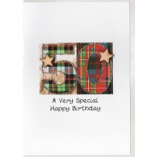 Special Birthday Tartan Number 50 Card SW TN50