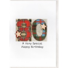 Special Birthday Tartan Number 80 Card SW TN80