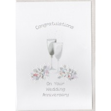 Anniversary Champagne Glasses Card SW WE31