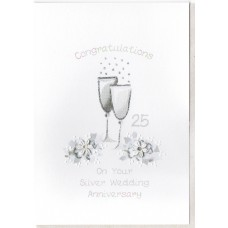 Silver Anniversary Champagne Glasses Card SW WE34