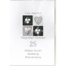 Silver Anniversary Twa Hearts Card SW WE37
