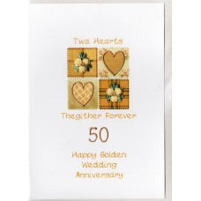 Gold Anniversary Twa Hearts Card SW WE38