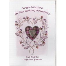 Anniversary Thistle Heart Card SW WE44