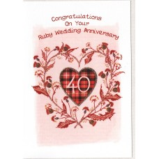 Ruby Anniversary Thistle Heart Card SW WE46