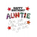 Tartan Words Card Auntie WWTW10