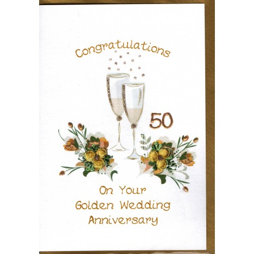 Golden wedding anniversary card champagne flutes e