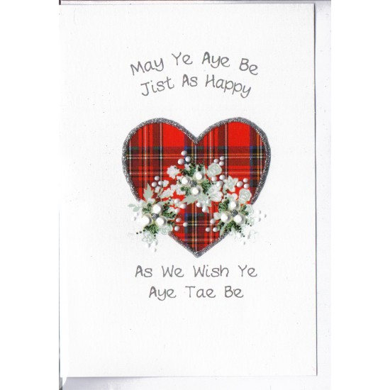 Scottish Wedding Card Tartan Heart WWWE54