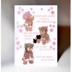 New Baby Girl Three Wee Wishes Card