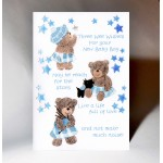 New Baby Boy Three Wee Wishes Card