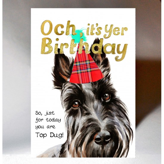 Birthday Scottie Top Dug Card WWBD187
