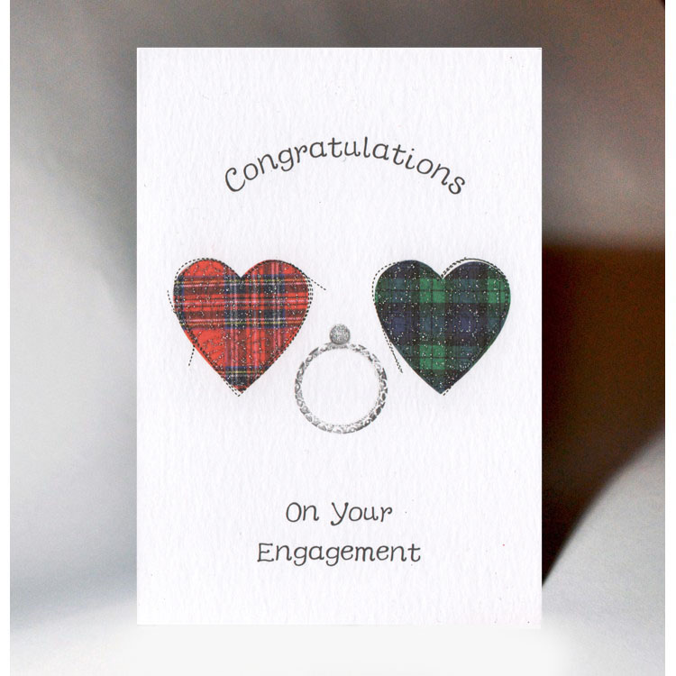 Embroidered Originals Congratulations On Your Engagement Scottish Hearts Card