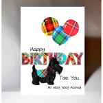 Birthday Scottie Dog with Balloons Card WWBD211