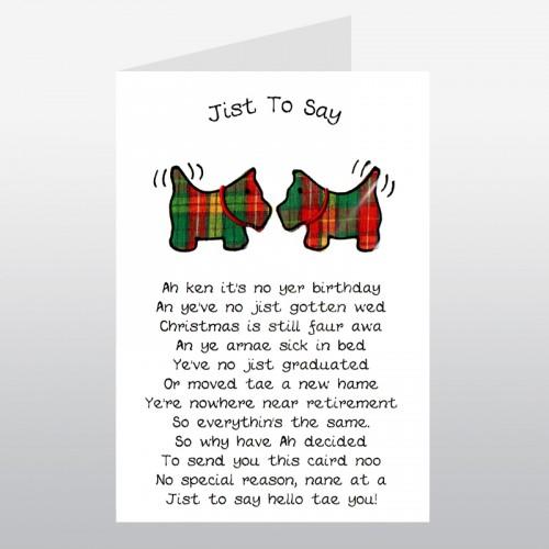 Scottish Greeting Card Tartan Scotties WWGR01 – Sick Birthday Cards