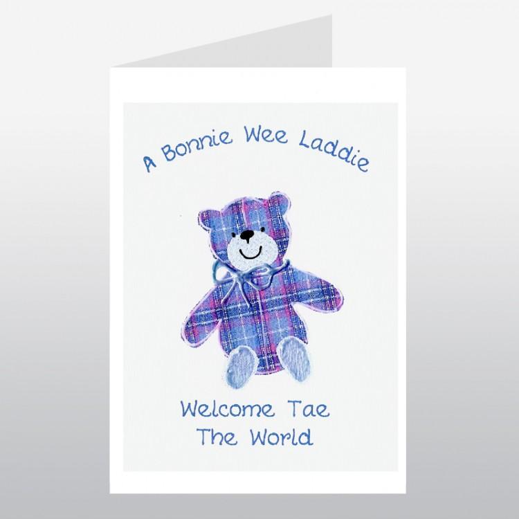 Scottish Baby Card Tartan Teddy Boy WWBA22