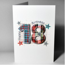 Stitched Number Birthday Card 18 WWSN18