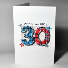 Stitched Number Birthday Card 30 WWSN30