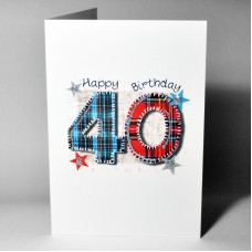 Stitched Number Birthday Card 40 WWSN40