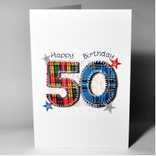 Stitched Number Birthday Card 50 WWSN50