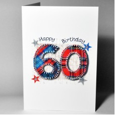 Stitched Number Birthday Card 60 WWSN60