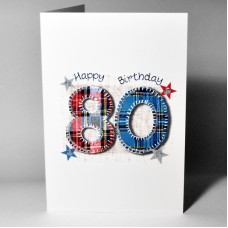 Stitched Number Birthday Card 80 WWSN80