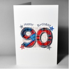 Stitched Number Birthday Card 90 WWSN90