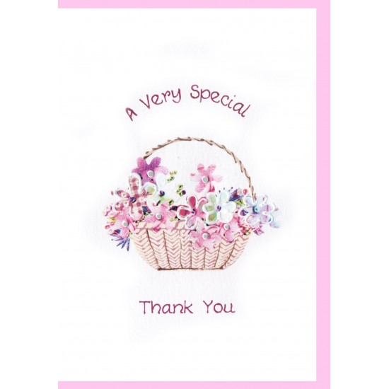 Thank You Card Basket of Flowers WWTY04