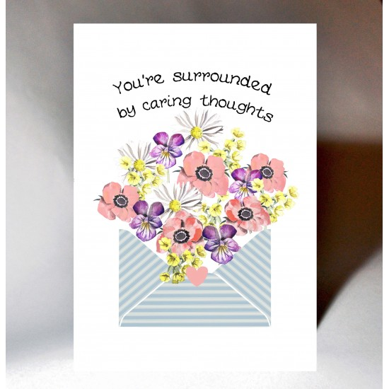 'Caring Thoughts' Floral Envelope Card WWJB07