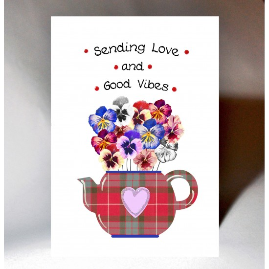 'Good Vibes' Floral Teapot Card WWJB08