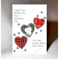 Scottish Wedding Card Three Hearts WWWE56