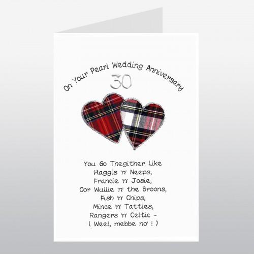 Scottish Pearl Wedding Anniversary Card Poem Go Thegither WWWE19