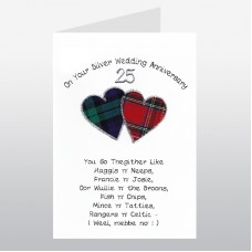 Scottish Silver Wedding Anniversary Card Go Thegither Poem WWWE33