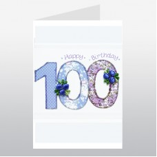 Birthday Card Floral Number Age 100 WWPN100