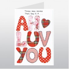 Scottish Lovey Dovey Card Three Wee Words WWLD10