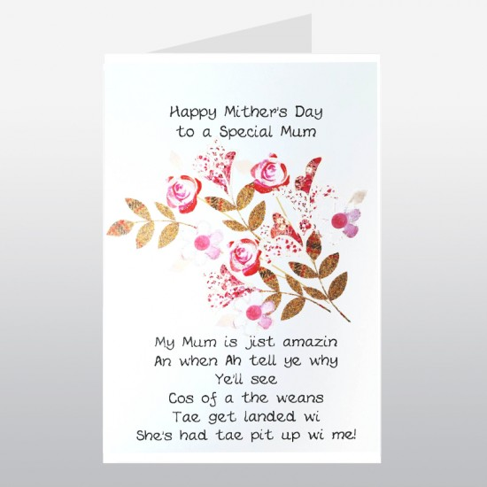 Scottish Mother's Day Rose Bouquet Card WWMD05