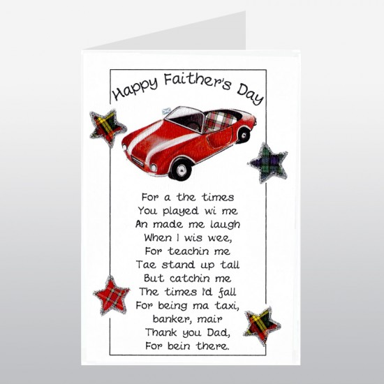 Scottish Father's Day Card Sports Car WWFD04