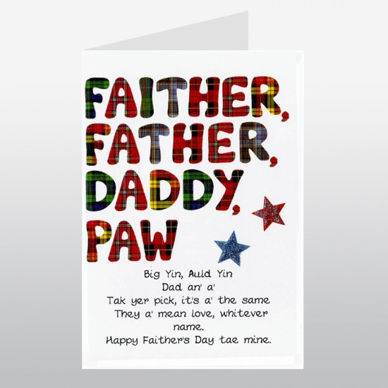 Scottish Fathers Day Card Faither WWFD06