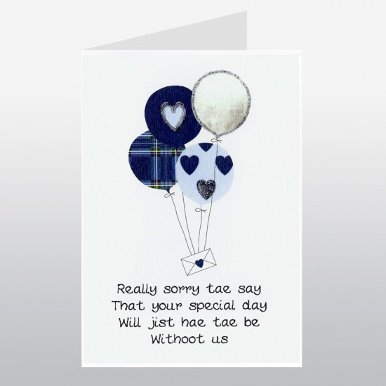 Scottish Wedding Card Regrets Balloons WWWE64