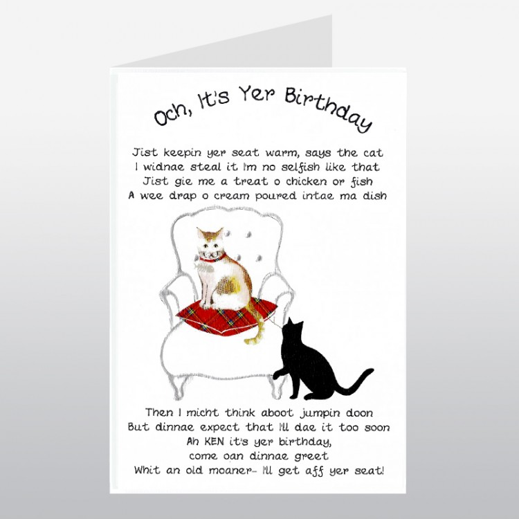 Scottish Birthday Card Cat Lover WWBD90