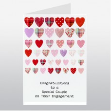 Scottish Engagement Card Rows of Hearts WWWE68