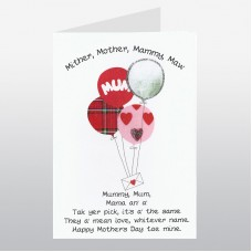 Scottish Mother's Day Card Balloons WWMD01